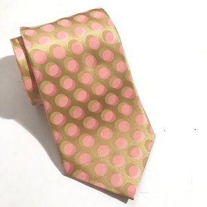 Ermenegildo Zegna Silk Gold Pink Neckwear Tie